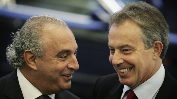 Chief Executive of the Arcadia Group Sir Philip Green (L) meets with Prime Minister Tony Blair at the opening of the Fashion Retail Academy on October 31, 2006 in London. The Academy is supported by  popular high street brands Burton, Dorothy Perkins, Evans, Miss Selfridge, Outfit, Topshop, Topman and Wallis, Next, Marks & Spencer.The Academy provides a combination of retail business and fashion education.  (Photo by Peter Macdiarmid/Getty Images)