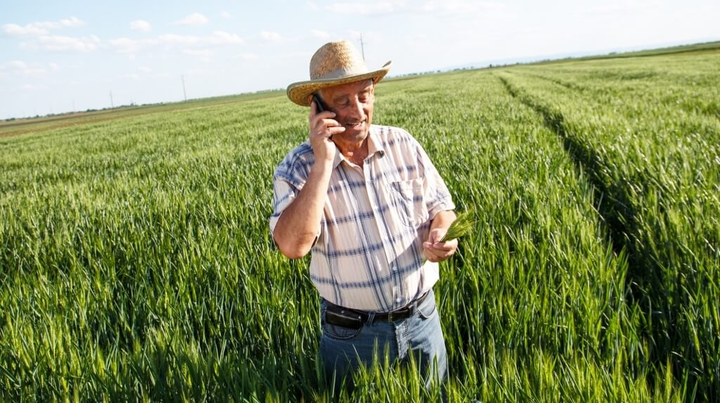 farmer with a smartphone