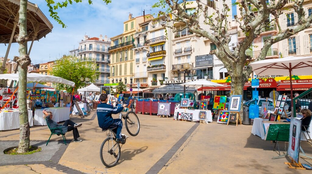 Small local market in the square, Cannes, France