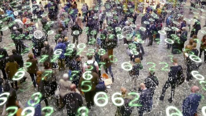 Mobile devices emitting data in a crowd of people.