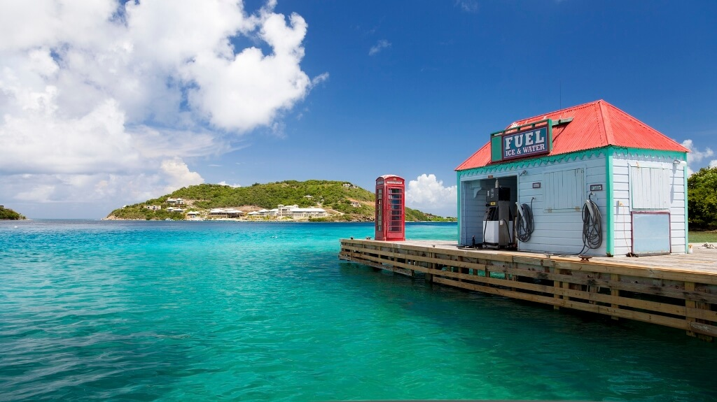 red telephone booth and fuel dock at Marina Cay, BVI