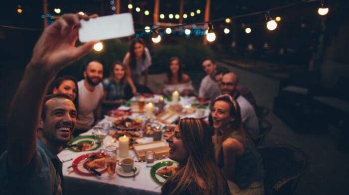 workers having dinner