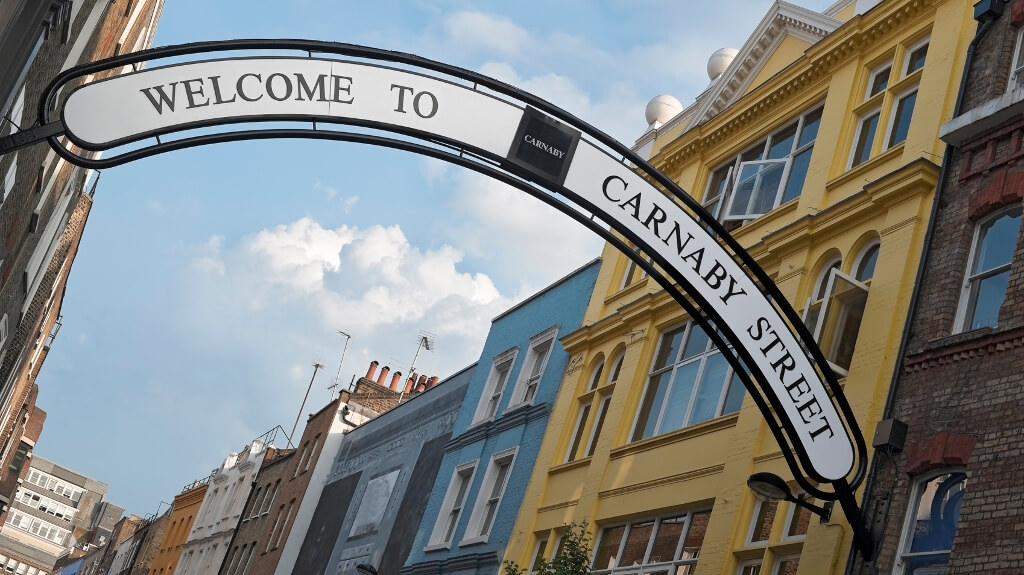 Welcome sign on carney street in SoHo London