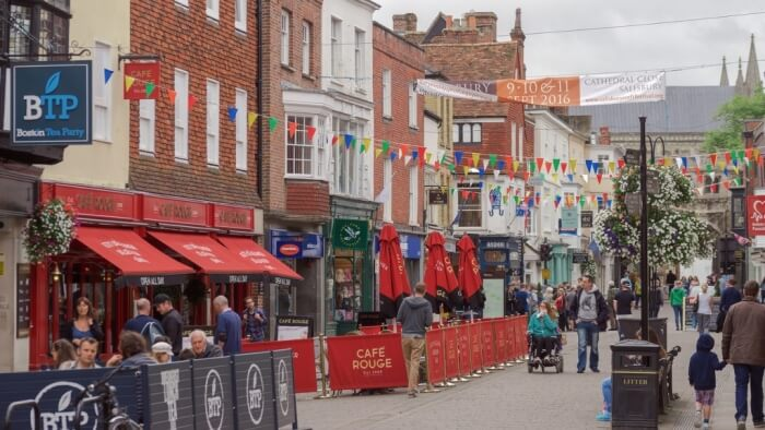 shopping street in Salisbury